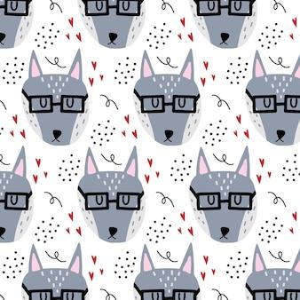 Vector handgetekende naadloze patroon voor kinderen met grijze wolf een wolf met bril en harten