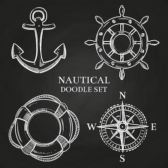 Vector handwiel, anker, kompas en reddingsboei