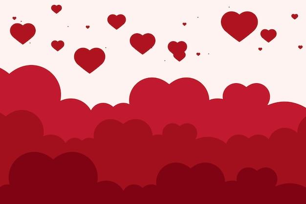 Vector hart wolk patroon rode achtergrond