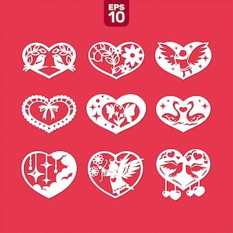 Vector harten ingesteld voor bruiloft en valentijn