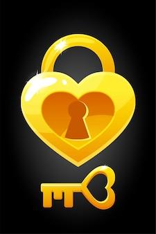 Vector hartvorm sleutel en slotpictogrammen. grafische illustratie van een liefdesleutel.