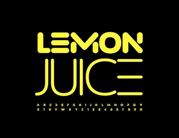 Vector helder teken citroensap trendy gele lettertype techno stijlenset van alfabetletters en cijfers