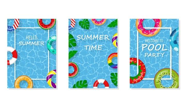 Vector heldere en leuke reclame poster sjabloon voor pool party. welkom bij poolparty flyer met zwembad, drijvende ringen en tropische bladeren. zwembad zomerfeest, poster of banner illustratie.