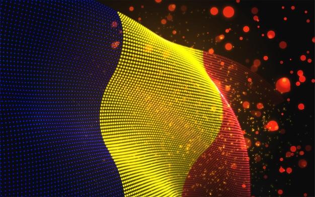 Vector heldere gloeiende landvlag van abstracte stippen. roemenië