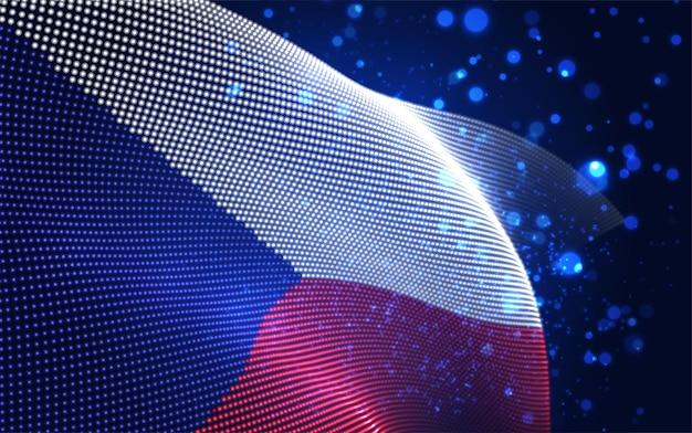Vector heldere gloeiende landvlag van abstracte stippen. tsjechisch
