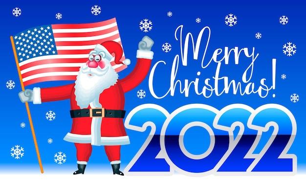 Vector heldere wenskaart merry christmas 2022 patriottische poster met de kerstman die de vlag van de v.s