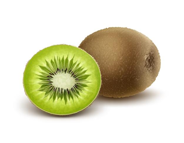 Vector hele en halve gesneden kiwi geïsoleerd op een witte achtergrond