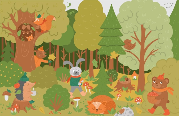 Vector herfst bos achtergrond met schattige dieren, bladeren, bomen, paddestoelen. grappige bosscène met beer, eekhoorn, slapende vos en planten. platte val illustratie voor kinderen.