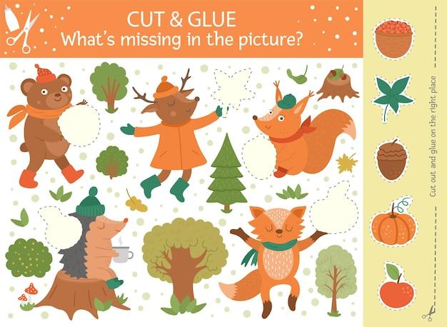 Vector herfst knippen en lijmen activiteit. educatief knutselspel voor het herfstseizoen met schattige bosdieren. leuke activiteit voor kinderen. wat ontbreekt er in het afdrukbare werkblad met afbeeldingen