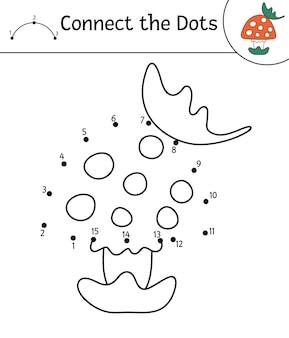 Vector herfst punt-naar-punt en kleur activiteit met schattige paddenstoel en blad. herfstseizoen connect the dots-spel. grappige kleurplaat voor kinderen met bosplant.
