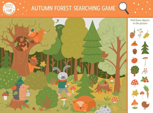 Vector herfst zoekspel met schattige bosdieren. vind verborgen voorwerpen in het bos. eenvoudige leuke educatieve herfstseizoen afdrukbare activiteit voor kinderen met paddenstoelen, bessen, planten