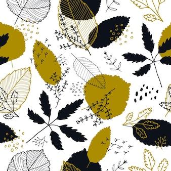 Vector herfstbladeren naadloze patroon. herfstachtergrond voor textiel, behang, cadeaupapier en plakboek. handgetekende illustratie