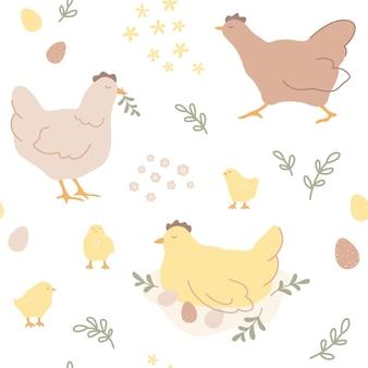 Vector herhalende handgetekende print. paaspatroon met kippen, kuikens, paaseieren en bladeren in scandinavische stijl. schattig kinder naadloos patroon in pastelkleuren.