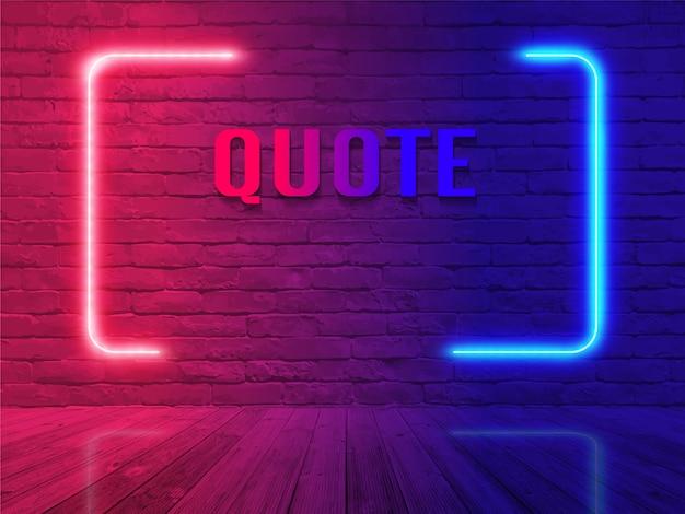 Vector het citaatbel van het neonteken op de achtergrond van de bakstenen muurruimte