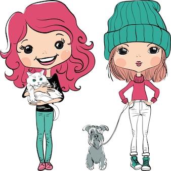 Vector hipster mode schattig meisje wit huisdieren