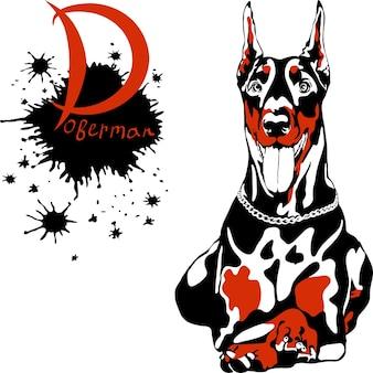 Vector hond dobermann pinscher ras