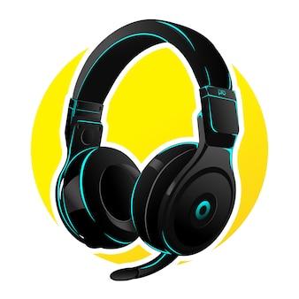 Vector hoofdtelefoon voor gaming met cyaan led
