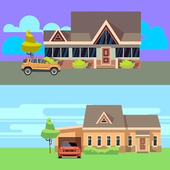 Vector horizontale achtergrond die met huizen met auto's wordt geplaatst. thuis met auto, cottage woonwijk en garage