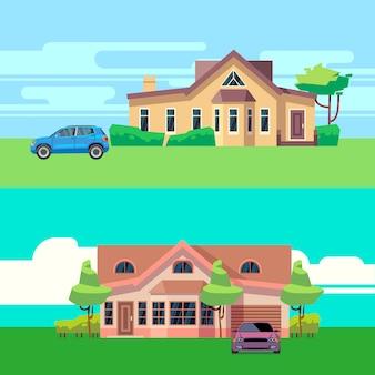 Vector horizontale illustraties van huizen met auto's. platte vectorillustratie auto- en bouwarchitectuur, automobiel en cottage