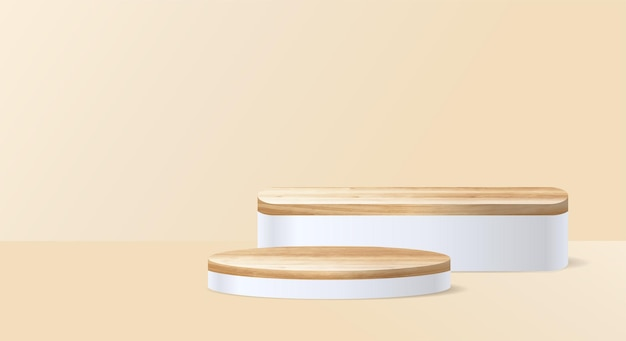 Vector houten podium op kamer achtergrond, presentatie mock up, cosmetisch product weergeven podium sokkel ontwerp