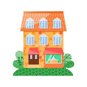 Vector huis vooraanzicht gele gevel met blauwe ramen en oranje dak cafe op de eerste verdieping