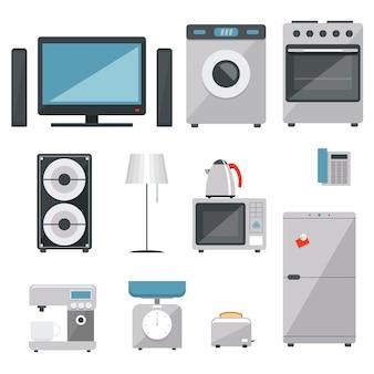 Vector huishoudelijke apparaten pictogrammen instellen