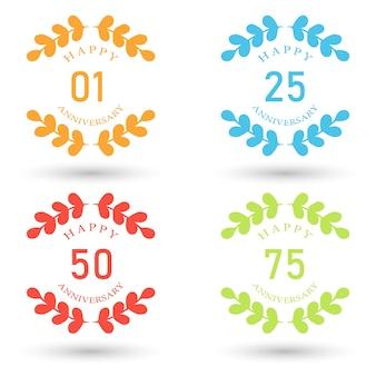 Vector huwelijksverjaardag badges illustratie