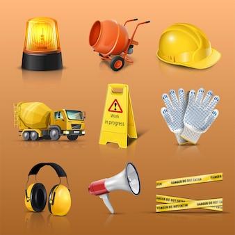 Vector icon set van bouwwerkzaamheden waarschuwingslicht helm vrachtwagen waarschuwing