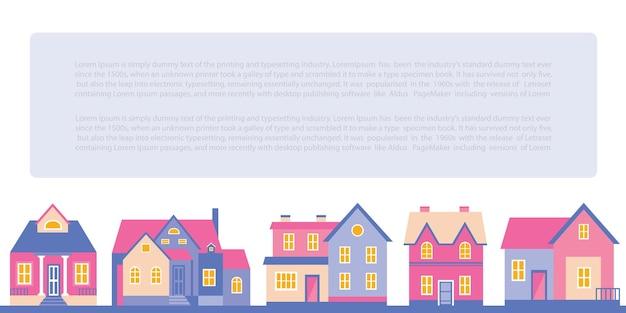 Vector iconen en concepten in platte trendy stijl - huizen illustraties en banners voor onroerend goed websites en brochures