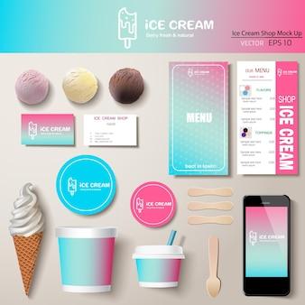 Vector ijs huisstijl sjabloon ontwerpset. branding mock-up.