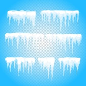 Vector ijspegel en sneeuw elementen clipart. verschillende sneeuwkap geïsoleerd op transparant. sneeuwelementen in de winter