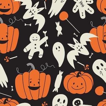Vector illustartion set lineaire pictogrammen voor happy halloween. trick or treat-symbool. achtergrond of naadloos patroon.