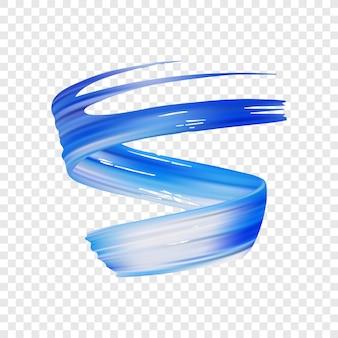 Vector illustratie: 3d-realistische blauwe penseelstreek olie of acrylverf. wave vloeibare vorm. trendy ontwerp.