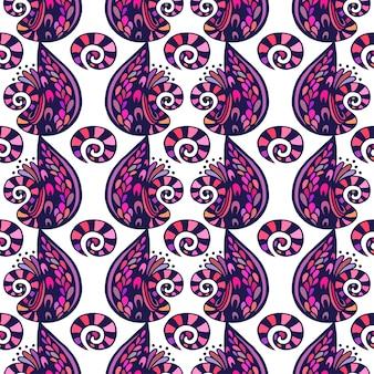 Vector illustratie abstract naadloos patroon. abstracte kleurrijke krabbels violette achtergrond