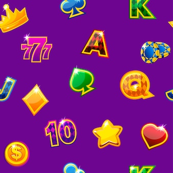 Vector illustratie. achtergrond met gekleurde casinopictogrammen op paars, naadloos herhalend patroon.