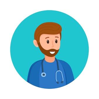 Vector illustratie arts avatar. foto van een arts om een vragenlijst of banner, set en meer in te vullen. dokter, gezondheid, medisch icoon.