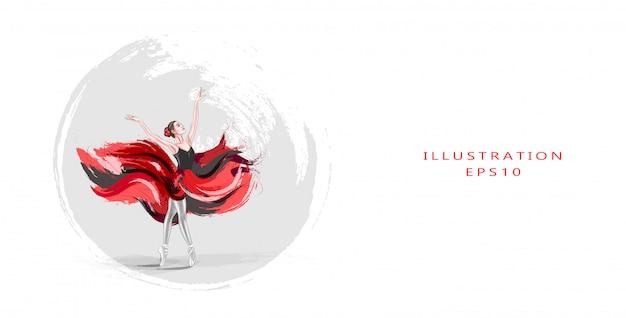 Vector illustratie. ballerina. een jonge, sierlijke balletjurk, gekleed in een professionele outfit, schoenen en een rode gewichtloze rok, toont dansvaardigheid. de schoonheid van klassiek ballet.