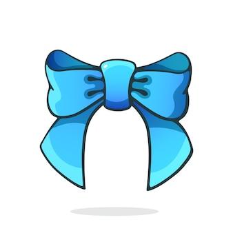 Vector illustratie blauw striklint haaraccessoire voor meisjes clipart