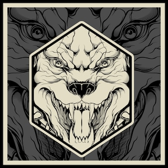 Vector illustratie boos pitbull mascotte hoofd