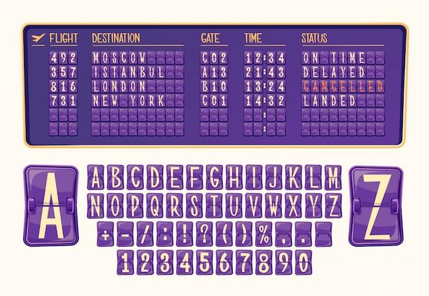 Vector illustratie bord van aankomst en vertrek op het vliegveld met verschillende cijfers en letters in cartoon stijl.