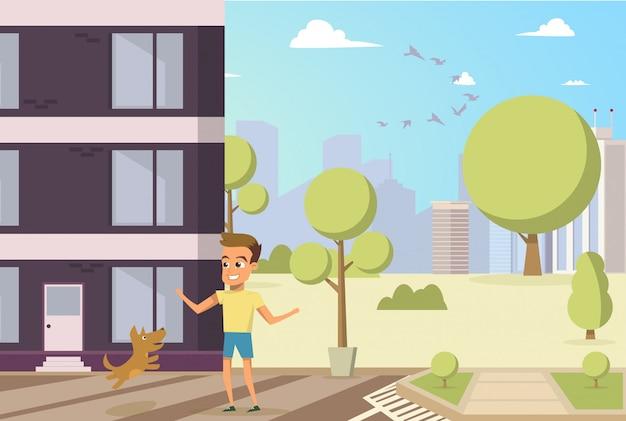 Vector illustratie cartoon kleine hond en jongen