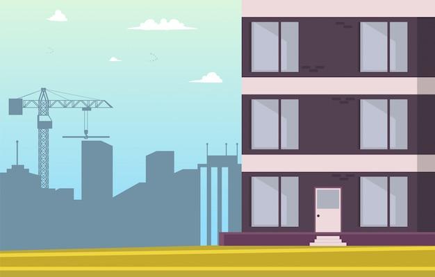 Vector illustratie cartoon nieuw huis bouwen