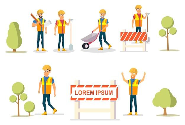 Vector illustratie cartoon set builder group