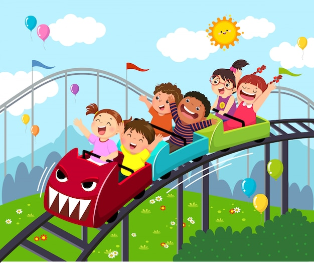 Vector illustratie cartoon van kinderen plezier op achtbaan in een pretpark.