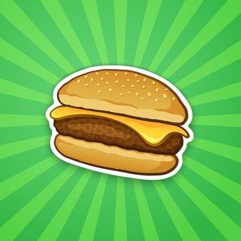 Vector illustratie cheeseburger met kaas ongezond voedsel sticker