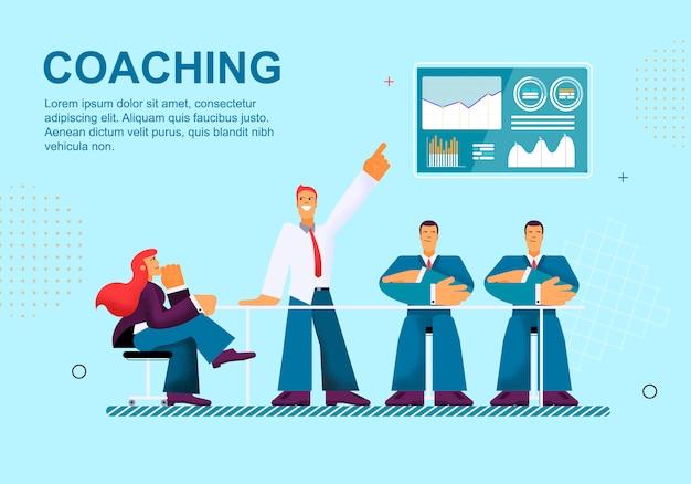 Vector illustratie coaching op blauwe achtergrond.