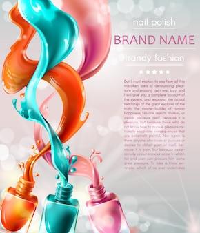 Vector illustratie collectie van gekleurde open flessen met nagellak