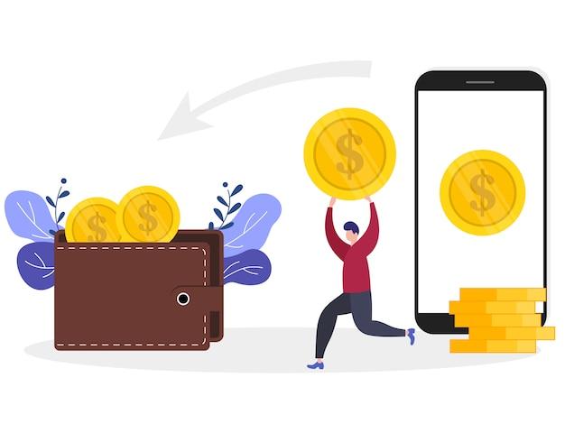 Vector illustratie concept geld overdracht