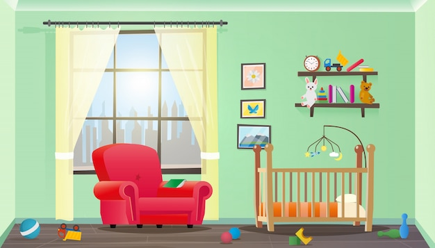 Vector illustratie concept kinderkamer interieur