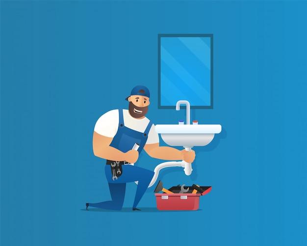 Vector illustratie concept loodgieter service